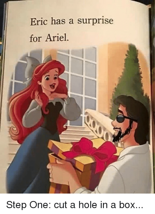 Ariel, Dank, and 🤖: Eric has a surprise  for Ariel. Step One: cut a hole in a box...