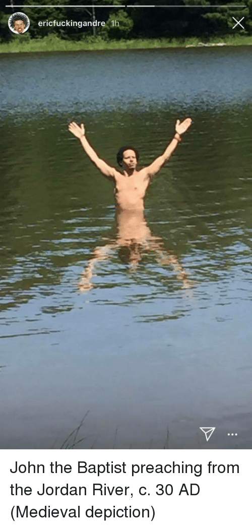 Jordan, Medieval, and River: ericfuckingandre 1 John the Baptist preaching from the Jordan River, c. 30 AD (Medieval depiction)