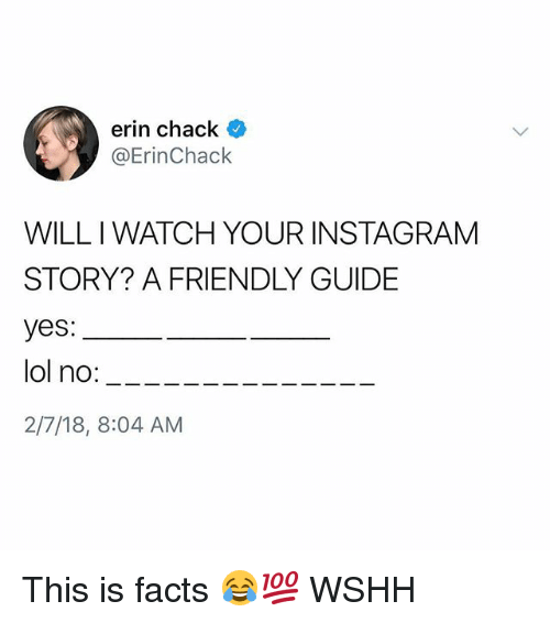 Chack: erin chack  @ErinChack  WILL I WATCH YOUR INSTAGRAM  STORY? A FRIENDLY GUIDE  yes:  ol no:---  2/7/18, 8:04 AM This is facts 😂💯 WSHH