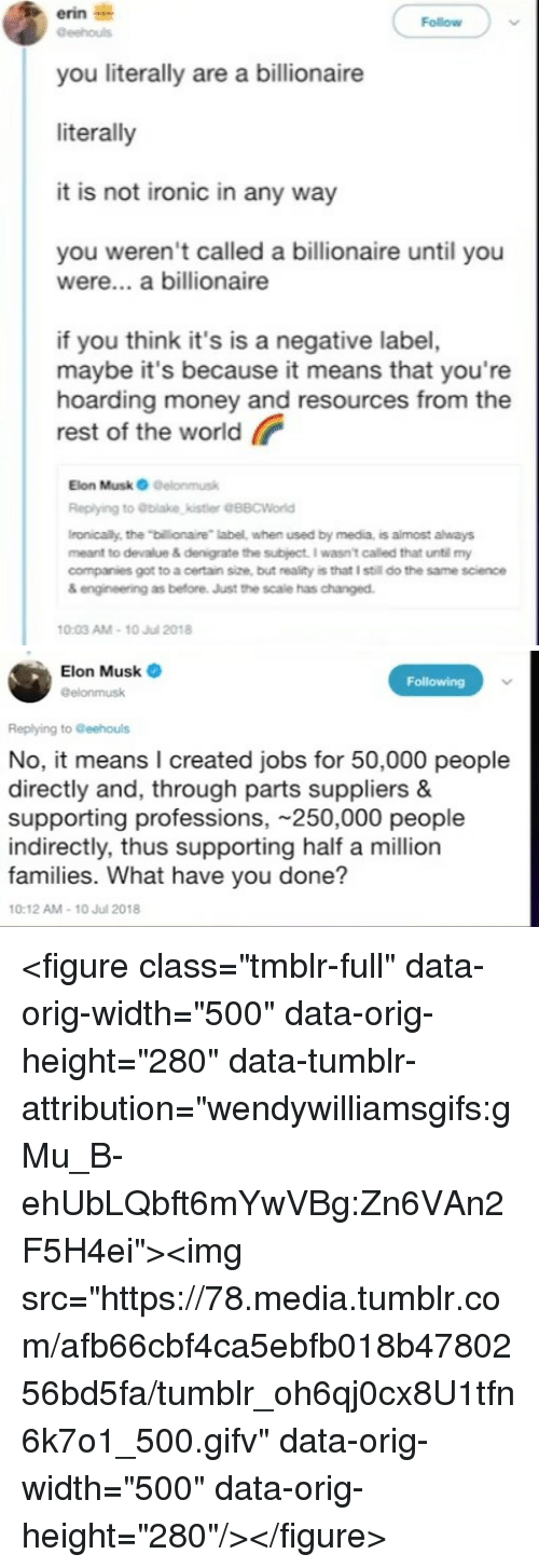 """Ironic, Money, and Tumblr: erin i  you literally are a billionaire  literally  it is not ironic in any way  Follow  you weren't called a billionaire until you  were... a billionaire  if you think it's is a negative label,  maybe it's because it means that you're  hoarding money and resources from the  rest of the world  Elon Musk O Delonmusk  Replying to blake,kistler @88CWorld  ronically, the """"billionaire label, when used by media, is almost always  meant to devalue & denigrate the subject. I wasnt called that until my  companies got to a certain size, but reality is that I still do the same science  & engineeing as before. Just the scale has changed.  0:03 AM-10 Jul 2018   Elon Musk  @elonmusk  Following  Replying to Geehouls  No, it means I created jobs for 50,000 people  directly and, through parts suppliers &  supporting professions, 250,000 people  indirectly, thus supporting half a million  families. What have you done?  10:12 AM-10 Jul 2018 <figure class=""""tmblr-full"""" data-orig-width=""""500"""" data-orig-height=""""280"""" data-tumblr-attribution=""""wendywilliamsgifs:gMu_B-ehUbLQbft6mYwVBg:Zn6VAn2F5H4ei""""><img src=""""https://78.media.tumblr.com/afb66cbf4ca5ebfb018b4780256bd5fa/tumblr_oh6qj0cx8U1tfn6k7o1_500.gifv"""" data-orig-width=""""500"""" data-orig-height=""""280""""/></figure>"""