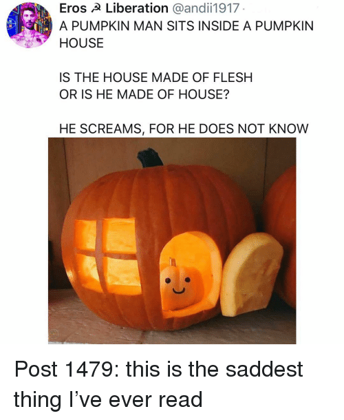 Memes, House, and Pumpkin: Eros A Liberation @andii1917  A PUMPKIN MAN SITS INSIDE A PUMPKIN  HOUSE  IS THE HOUSE MADE OF FLESH  OR IS HE MADE OF HOUSE?  HE SCREAMS, FOR HE DOES NOT KNOW Post 1479: this is the saddest thing I've ever read