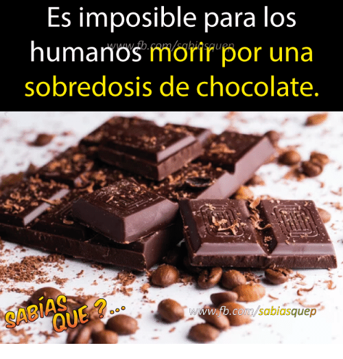 Chocolate, Para, and Por: Es imposible para los  humanos morir por una  sobredosis de chocolate  w.tb.co  sabiasquep