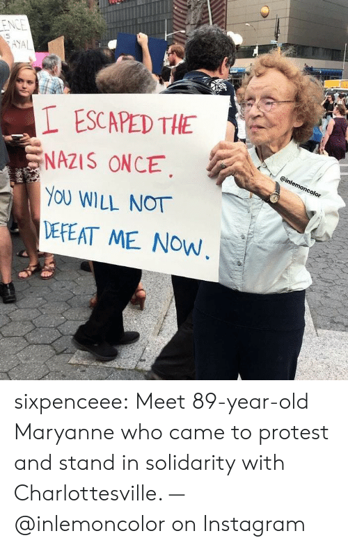 Protestation: ESCAPED THE  NAZIS ONCE.  YOU WILL NOT  DEPEAT ME NOW sixpenceee:  Meet 89-year-old Maryanne who came to protest and stand in solidarity with Charlottesville. — @inlemoncolor on Instagram