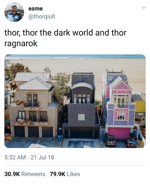 Thor, World, and Thor: The Dark World: esme  @thorqiull  thor, thor the dark world and thor  ragnarok  1347  3-3  5:32 AM 21 Jul 18  30.9K Retweets 79.9K Likes