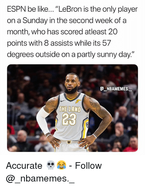 "Be Like, Espn, and Memes: ESPN be like... ""LeBron is the only player  on a Sunday in the second week of a  month, who has scored atleast 20  points with 8 assists while its 57  degrees outside on a partly sunny day.""  NBAMEMES. Accurate 💀😂 - Follow @_nbamemes._"