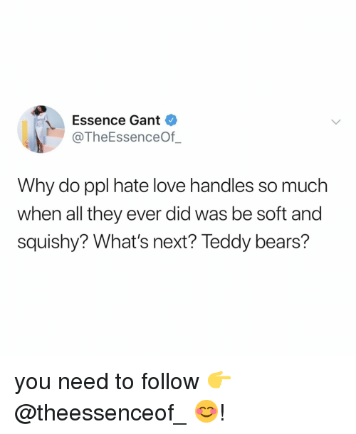 squishy: Essence Gant  @TheEssenceOf_  Why do ppl hate love handles so much  when all they ever did was be soft and  squishy? What's next? Teddy bears? you need to follow 👉 @theessenceof_ 😊!