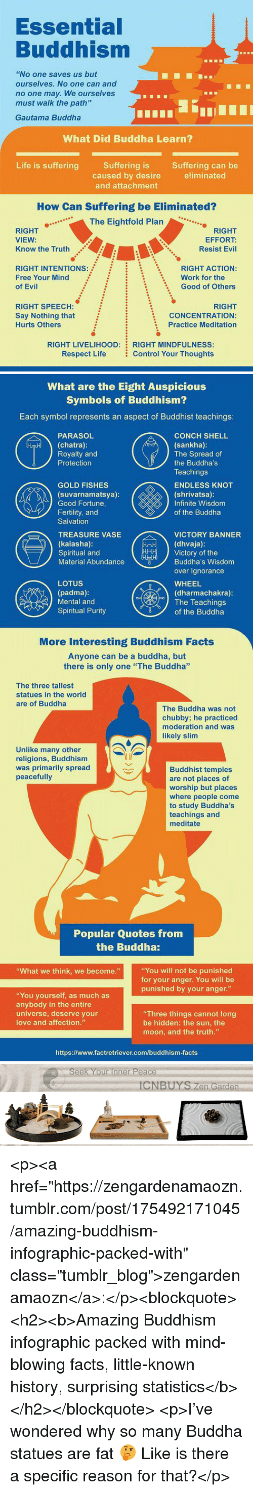 "Facts, Life, and Love: Essential  Buddhism  ""No one saves us but  ourselves. No one can and  no one may. We ourselves  must walk the path'""  Gautama Buddha  What Did Buddha Learn?  Life is sufferingSuffering is  Suffering can be  eliminated  caused by desire  and attachment  How Can Suffering be Eliminated?  ..The Eightfold Plan  RIGHT  VIEW:  Know the Truth  RIGHT  EFFORT:  Resist Evil  RIGHT INTENTIONs:  Free Your Mind  of Evil  RIGHT ACTION:  Good of Others  Work for the  :  :  \  RIGHT SPEECH:  Say Nothing that  Hurts Others  RIGHT  CONCENTRATION:  Practice Meditation  RIGHT LIVELIHOOD:  Respect Life  RIGHT MINDFULNESS  Control Your Thoughts   What are the Eight Auspicious  Symbols of Buddhism?  Each symbol represents an aspect of Buddhist teachings:  CONCH SHELL  (sankha)  The Spread of  the Buddha's  Teachings  ENDLESS KNOT  (shrivatsa):  Infinite Wisdom  of the Buddha  PARASOL  (chatra):  Royalty and  Protection  GOLD FISHES  (suvarnamatsya)  Good Fortune,  Fertility, and  Salvation  TREASURE VASE  (kalasha)  Spiritual and  Material Abundance  VICTORY BANNER  (dhvaja)  Victory of the  Buddha's Wisdom  over Ignorance  WHEEL  (dharmachakra):  LOTUS  (padma)  Mental and  Spiritual Purity  The Teachings  dr〒ソof the Buddha  More Interesting Buddhism Facts  Anyone can be a buddha, but  there is only one ""The Buddha""  The three tallest  statues in the world  are of Buddha  The Buddha was not  chubby; he practiced  moderation and was  likely slim  Unlike many other  religions, Buddhism  was primarily spread  peacefully  Buddhist temples  are not places of  worship but places  where people come  to study Buddha's  teachings and  meditate  Popular Quotes from  the Buddha:  You will not be punished  for your anger. You will be  punished by your anger.""  What we think, we become.""  ""You yourself, as much as  anybody in the entire  universe, deserve your  love and affection.""  Three things cannot long  be hidden: the sun, the  moon, and the truth.""  https://www.factretriever.com/buddhism-facts   Seek Your Inner Peace  CNBUYS Zen Garden <p><a href=""https://zengardenamaozn.tumblr.com/post/175492171045/amazing-buddhism-infographic-packed-with"" class=""tumblr_blog"">zengardenamaozn</a>:</p><blockquote><h2><b>Amazing Buddhism infographic packed with mind-blowing facts, little-known history, surprising statistics</b></h2></blockquote>  <p>I've wondered why so many Buddha statues are fat 🤔 Like is there a specific reason for that?</p>"