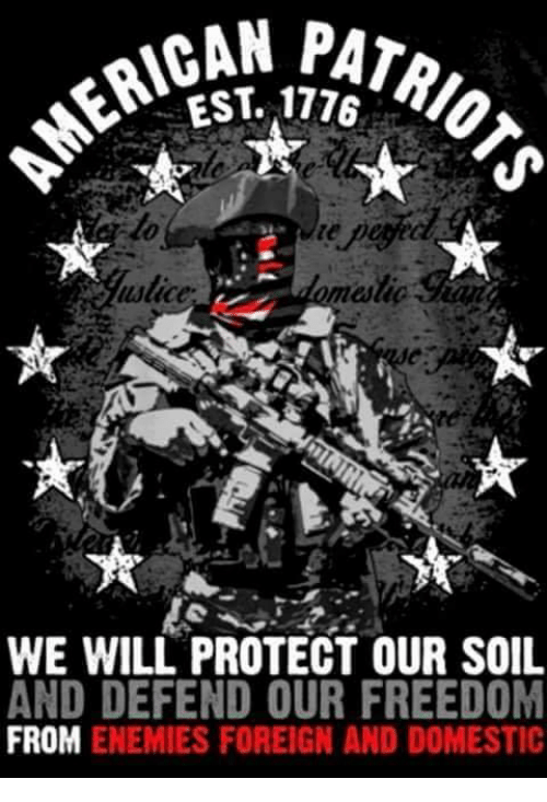 Memes, Enemies, and Freedom: EST. 1776  alice  alig  WE WILL PROTECT OUR SOIL  AND DEFEND OUR FREEDOM  FROM ENEMIES FOREIGN AND DOMESTIC