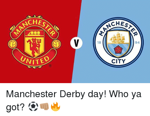 Memes, United, and Manchester: EST  CHEST  ANCH  94  18  CITY  UNITED Manchester Derby day! Who ya got? ⚽️👊🏽🔥