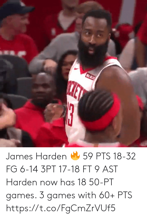 James Harden, Memes, and Games: ET  13 James Harden 🔥  59 PTS 18-32 FG 6-14 3PT 17-18 FT 9 AST  Harden now has 18 50-PT games.  3 games with 60+ PTS  https://t.co/FgCmZrVUf5