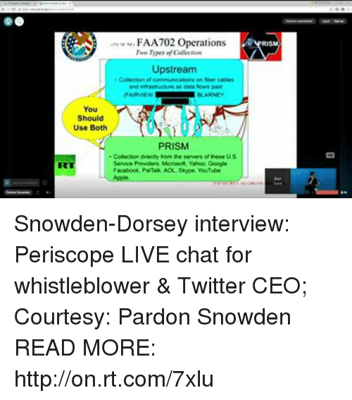 whistleblower: eu, FA A702 Operations  Upstream  on cables  as datafows past  Should  Use Both  PRISM  Colector drecey from the servers ofhese US  Service Providers Morosoft Yahoo Ooogin Snowden-Dorsey interview: Periscope LIVE chat for whistleblower & Twitter CEO; Courtesy: Pardon Snowden READ MORE: http://on.rt.com/7xlu