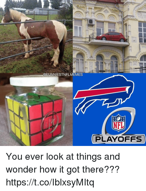 NFL playoffs: @EUNNIESTNFLMEMES  NFL  PLAYOFFS You ever look at things and wonder how it got there??? https://t.co/IblxsyMItq