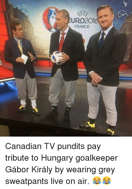 Soccer, France, and Grey: EURO2016  FRANCE Canadian TV pundits pay tribute to Hungary goalkeeper Gábor Király by wearing grey sweatpants live on air. 😂😂