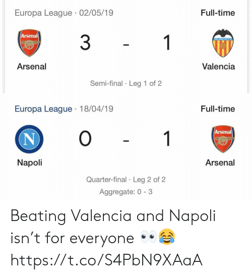 Arsenal, Soccer, and Time: Europa League 02/05/19  Full-time  Arsenal  3  1  VALENCIA C.F  Valencia  Arsenal  Semi-final Leg 1 of 2   Europa League 18/04/19  Full-time  O  Arsenal  1  N  Napoli  Arsenal  Quarter-final Leg 2 of 2 Beating Valencia and Napoli isn't for everyone 👀😂 https://t.co/S4PbN9XAaA