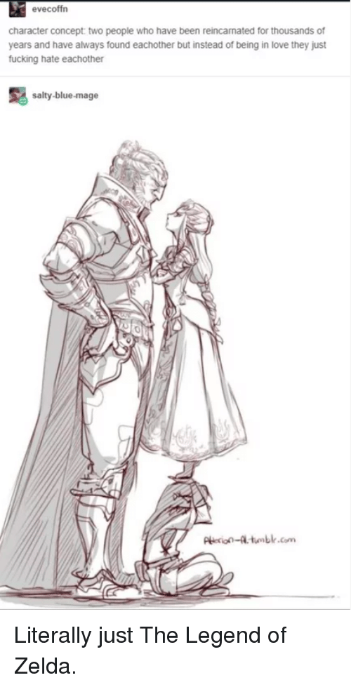 Fucking, Love, and Being Salty: evecoffrn  character concept two people who have been reincamated for thousands of  years and have always found eachother but instead of being in love they just  fucking hate eachother  salty-blue-mage  Pie-tumblr.com Literally just The Legend of Zelda.