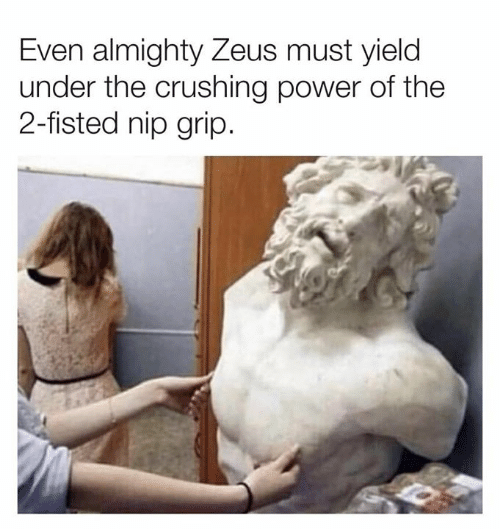 almighty: Even almighty Zeus must yielc  under the crushing power of the  2-fisted nip grip