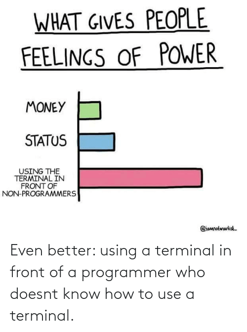 Doesnt: Even better: using a terminal in front of a programmer who doesnt know how to use a terminal.