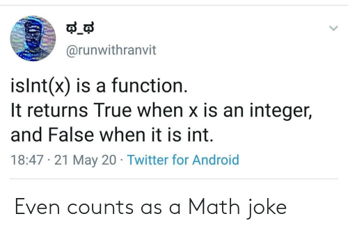 joke: Even counts as a Math joke