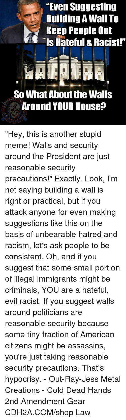 "Stupid Memes: ""Even Suggesting  uilding A Wall To  Keep People Out  Is Hateful & Racist!""  So What About the Walls  Around YOUR House? ""Hey, this is another stupid meme!  Walls and security around the President are just reasonable security precautions!""    Exactly.  Look, I'm not saying building a wall is right or practical, but if you attack anyone for even making suggestions like this on the basis of unbearable hatred and racism, let's ask people to be consistent.  Oh, and if you suggest that some small portion of illegal immigrants might be criminals, YOU are a hateful, evil racist.  If you suggest walls around politicians are reasonable security because some tiny fraction of American citizens might be assassins, you're just taking reasonable security precautions.   That's hypocrisy. - Out-Ray-Jess Metal Creations - Cold Dead Hands 2nd Amendment Gear CDH2A.COM/shop Law"