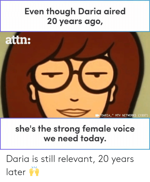 """Memes, Mtv, and Today: Even though Daria aired  20 years ago,  attn:  DARIA,"""" MTV NETWORKS (1997)  he's the strong female voice  we need today. Daria is still relevant, 20 years later 🙌"""