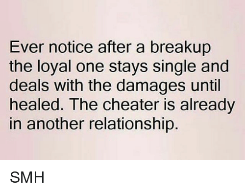 Memes, Smh, and Single: Ever notice after a breakup  the loyal one stays single and  deals with the damages until  healed. The cheater is already  in another relationship SMH