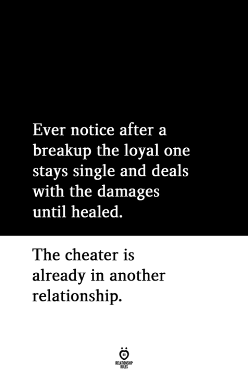 Single, Another, and Damages: Ever notice after a  breakup the loyal one  stays single and deals  with the damages  until healed  The cheater is  alreadv in another  relationship.