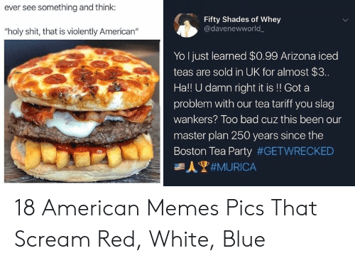"""Bad, Memes, and Party: ever see something and think:  Fifty Shades of Whey  @davenewworld  """"holy shit, that is violently American""""  Yo I just learned $0.99 Arizona iced  teas are sold in UK for almost $3..  Ha!! U damn right it is!! Got a  problem with our tea tariff you slag  wankers? Too bad cuz this been our  master plan 250 years since the  Boston Tea Party #GETWRECKED  人#MURICA 18 American Memes  Pics That  Scream Red, White,  Blue"""