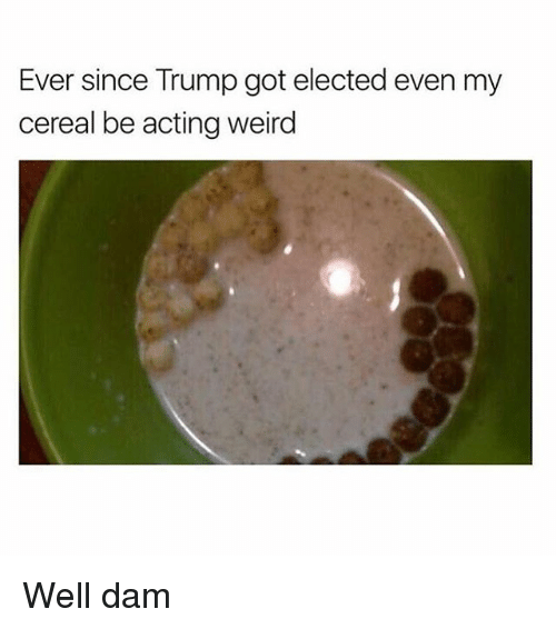 Cereally: Ever since Trump got elected even my  cereal be acting weird Well dam