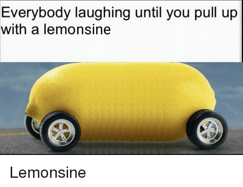 You, Laughing, and Pull Up: Evervbodv laughing until you pull up  with a lemonsine Lemonsine