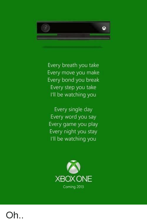 Ill Be Watching You: Every breath you take  Every move you make  Every bond you break  Every step you take  I'll be watching you  Every single day  Every word you say  Every game you play  Every night you stay  I'll be watching you  XBOXONE  Coming 2013 Oh..