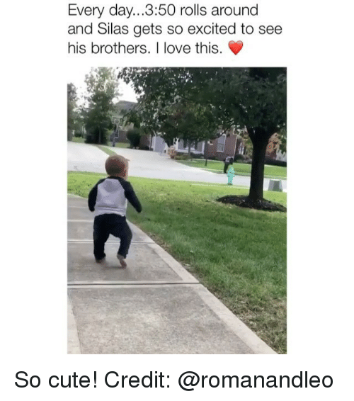 Cute, Love, and Memes: Every day...3:50 rolls around  and Silas gets so excited to see  his brothers. I love this. So cute! Credit: @romanandleo