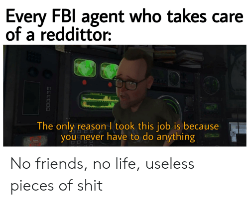 Friends, Life, and Reddit: Every FBl agent who takes care  of a reddittor  ARER  The only reason I took this job is because  you never have to do anything  OOD No friends, no life, useless pieces of shit