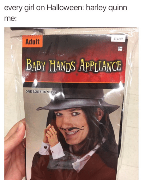 Appliance: every girl on Halloween: harley quinn  me  Adult  BABY HANDS APPLIANCE  ONE SIZE FITS MOST