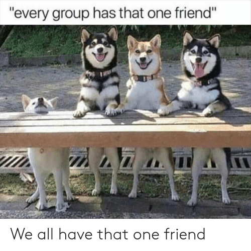 "That One Friend: ""every group has that one friend"" We all have that one friend"