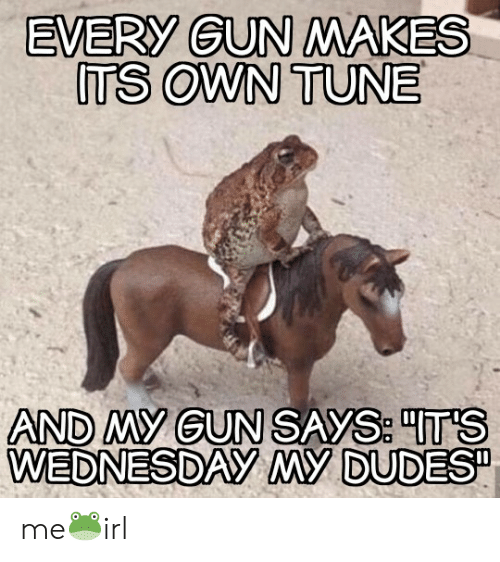 Wednesday, Irl, and Gun: EVERY GUN MAKES  ITS OWN TUNE  AND MY GUN SAYS TS  WEDNESDAY MY DUDES me🐸irl