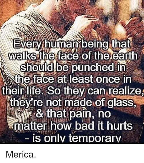 Bad, Life, and Memes: Every human being that  walks the face of the eath  should be punched in  the face at least once in  their life. So they can realize  thev re not made of glass  & that pain, no  matter how bad it hurts  is only temporary Merica.