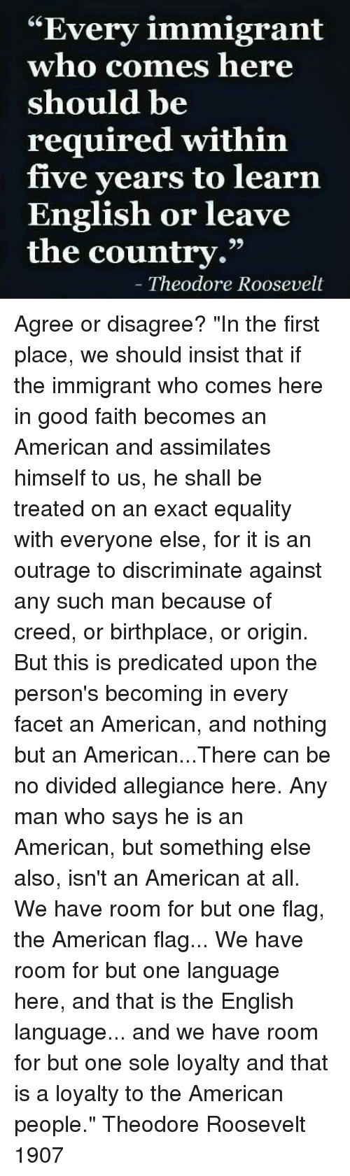 """Memes, American, and American Flag: """"Every immigrant  who comes here  should be  required within  five years to learn  English or leave  the country.""""  Theodore Roosevelt Agree or disagree?  """"In the first place, we should insist that if the immigrant who comes here in good faith becomes an American and assimilates himself to us, he shall be treated on an exact equality with everyone else, for it is an outrage to discriminate against any such man because of creed, or birthplace, or origin.   But this is predicated upon the person's becoming in every facet an American, and nothing but an American...There can be no divided allegiance here.   Any man who says he is an American, but something else also, isn't an American at all.   We have room for but one flag, the American flag... We have room for but one language here, and that is the English language... and we have room for but one sole loyalty and that is a loyalty to the American people.""""  Theodore Roosevelt 1907"""