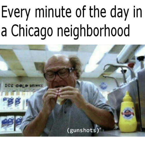 Chicago, Cold, and Ice: Every minute of the day in  a Chicago neighborhood  ICE COLD DRINKS  (gunshots)