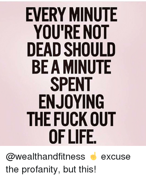 Gym, Fuck, and Profanity: EVERY MINUTE  YOU'RE NOT  DEAD SHOULD  BE A MINUTE  SPENT  ENJOYING  THE FUCK OUT @wealthandfitness ☝️ excuse the profanity, but this!
