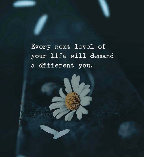 Life, Next, and Will: Every next level of  your life will demand  a different you.