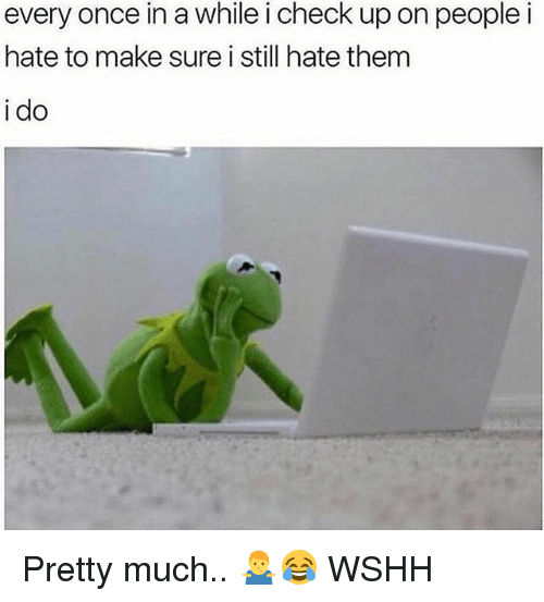 Memes, Wshh, and 🤖: every once in a while i check up on peoplei  hate to make sure i still hate them  i do Pretty much.. 🤷♂️😂 WSHH