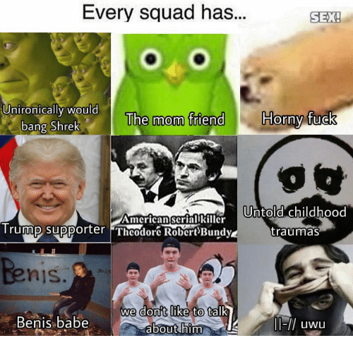 Supporter: Every squad has...  SEX!  SEX  UnironicallI WOuld  Horny fuck  The mom friend  bang Shrek  AmcricanscriarlrUntold childhood  Trummp supporter Theodor RobertBundy  traumas  nis  don't like  we  to talk  Benis.babe  about him