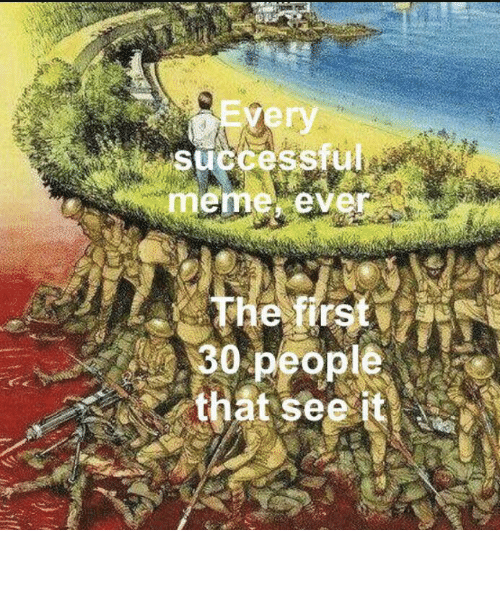 Meme, MeIRL, and First: Every  successful  meme, ever  The first  30 people  that see it Meirl