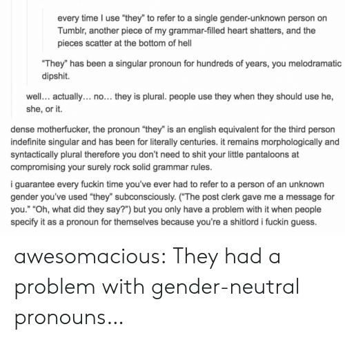 "Dense Motherfucker: every time I use ""they"" to refer to a single gender-unknown person on  Tumblr, another piece of my grammar-filled heart shatters, and the  pieces scatter at the bottom of hel  They"" has been a singular pronoun for hundreds of years, you melodramatic  dipshit.  well. actually... no... they is plural. people use they when they should use he,  she, or it.  dense motherfucker, the pronoun ""they"" is an english equivalent for the third person  indefinite singular and has been for literally centuries. it remains morphologically and  syntactically plural therefore you don't need to shit your little pantaloons at  compromising your surely rock solid grammar rules.  i guarantee every fuckin time you've ever had to refer to a person of an unknown  gender you've used ""they"" subconsciously. (The post clerk gave me a message for  you."" ""Oh, what did they say?"") but you only have a problem with it when people  specify it as a pronoun for themselves because you're a shitlord i fuckin guess. awesomacious:  They had a problem with gender-neutral pronouns…"