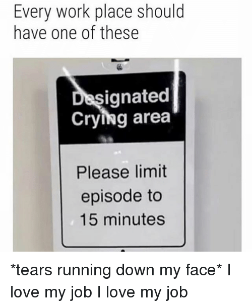 Crying, Love, and Work: Every work place should  have one of these  ignated  Crying area  Please limit  episode to  15 minutes *tears running down my face* I love my job I love my job
