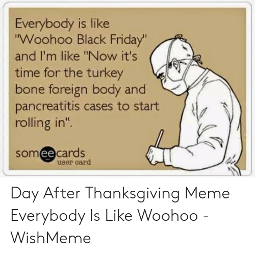 """Wishmeme: Everybody is like  """"Woohoo Black Friday""""  and I'm like """"Now it's  time for the turkey  bone foreign body and  pancreatitis cases to start  rolling in""""  someecards  user card Day After Thanksgiving Meme Everybody Is Like Woohoo - WishMeme"""
