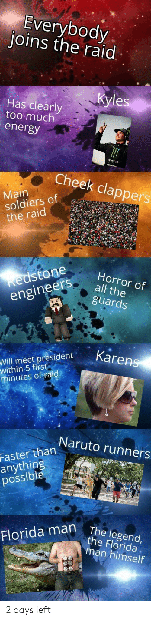 Energy, Florida Man, and Funny: Everybody  joins the raid  Kyles  Has clearly  too much  energy  Cheek clappers  Main  soldiers of  the raid  Kedstone  engineers  Horror of  all the  guards  Karens  Will meet president  within 5 first  minutes of raid  Naruto runners  Faster than  anything  possible  Florida man The legend,  the Florida  man himself 2 days left