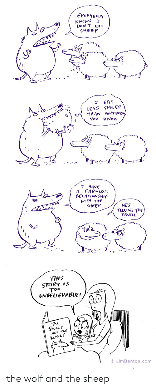 Wolf, Truth, and Com: EVERYBODY  KNOWS  DoN T EAT  SHEEP  I  EAT  LESS SHEEP  THAN ANYBopy  You KNOW  レノンノ  T HAVE  A  FABULOUS  PELATIONSHIP  WITH THE  SHEEP  HE'S  TELLING THE  TRUTH  THIS  STORY IS  Too  UNBELIEVABLE!  The  Sheep  AND The  WOLF  O JimBenton.com the wolf and the sheep
