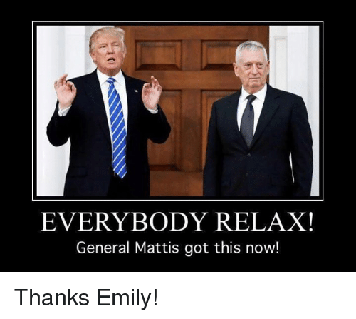Military, Generalization, and General: EVERYBODY RELAX!  General Mattis got this now! Thanks Emily!