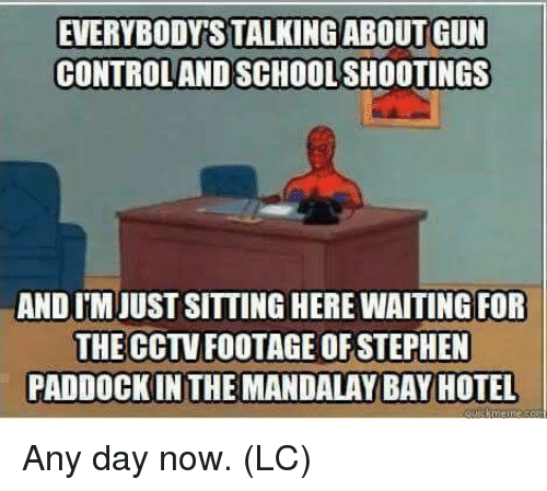 Memes, School, and Stephen: EVERYBODYS TALKINGABOUT GUN  CONTROLAND SCHOOL SHOOTINGS  AND IM JUST SITTING HERE WAITING FOR  THE CCTV FOOTAGE OF STEPHEN  PADDOCK IN THE MANDALAY BAY HOTEL Any day now.  (LC)